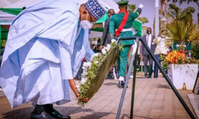 President Buhari Laying Wreath To Remember The Armed Forces