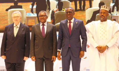 """DSC_2000: L-R: Former VDMA (German Mechanical Engineering Industry Association) President and Initiator of the VDMA Initiative """"Skilled Workers in Africa"""", Dr. Reinhold Festge; Chairman, Aliko Dangote Foundation, Aliko Dangote; Lagos State Governor, Babajide Sanwo-Olu; and Deputy Governor of Kogi State, Edward David Onoja, at the Aliko Dangote Foundation-VDMA Technical Training Programme """"tagged: Nigerian Industry meets German Engineering) launch in Lagos on Wednesday, June 2, 2021"""